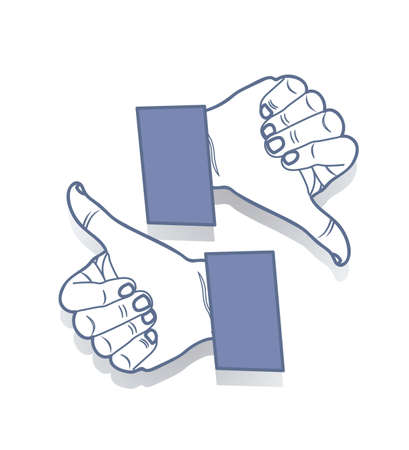 like and do not like Icons with blue hands Stock Vector - 14628029