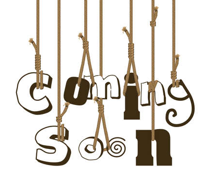 quot: illustration of strings holding sign &quot,coming soon&quot,