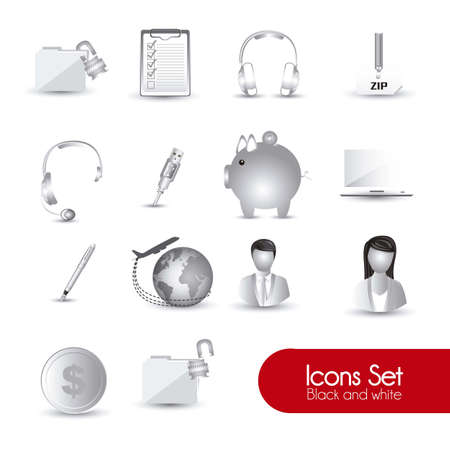 set of business icons in gray illustration Vector