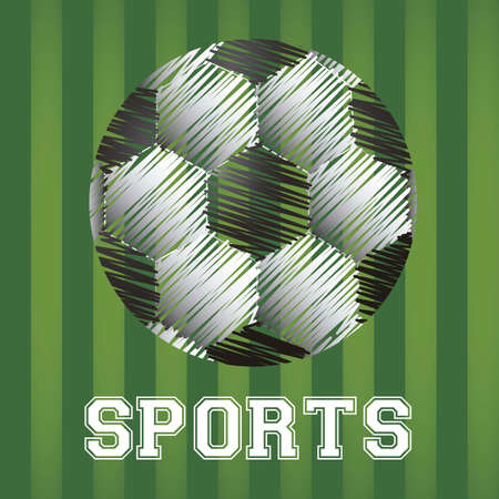 illustration of soccer ball in scratches on a background of green lines Vector
