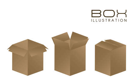 illustration of brown boxes on white background illustration Stock Vector - 14628031