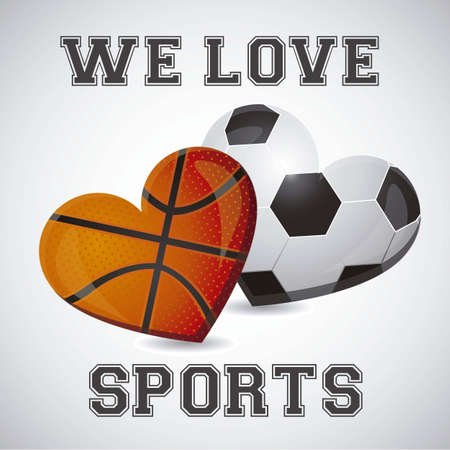 illustration of basketball and soccer heart illustration Vector