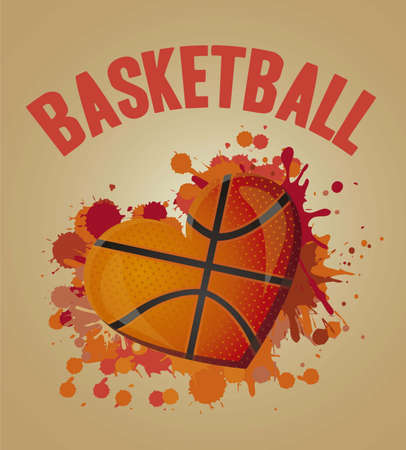 illustration of basketball heart of blue lines illustration Vector