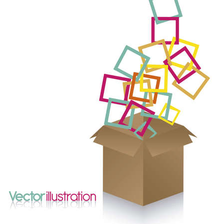 Illustration of colored squares out of cardboard box on white background Vector
