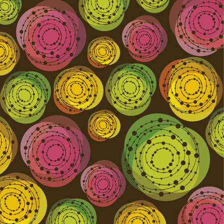 background of colored circles and dotted lines Vector
