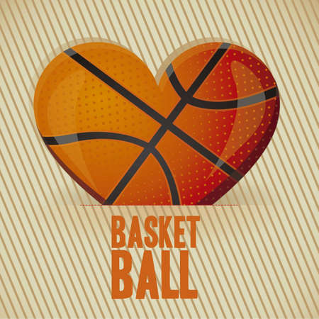 illustration of basketball heart on a background of  lines  illustration Vector