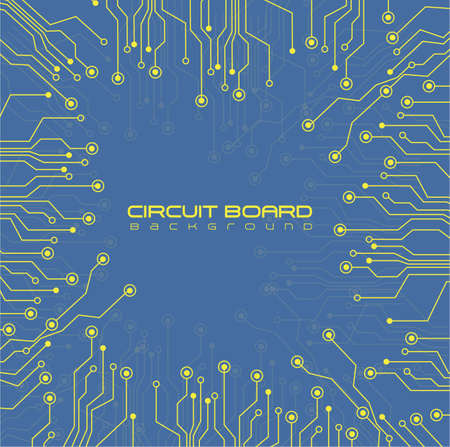 circuit board,  on blue background Vector