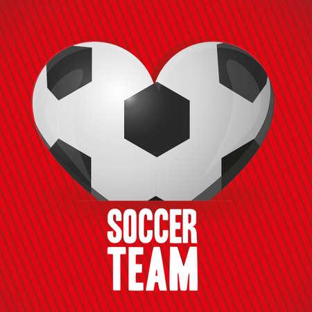 Illustration der Fußball-Herz auf dem Hintergrund der roten Linien Vektorgrafik