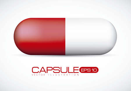 red pill: Capsule illustration isolated on white background