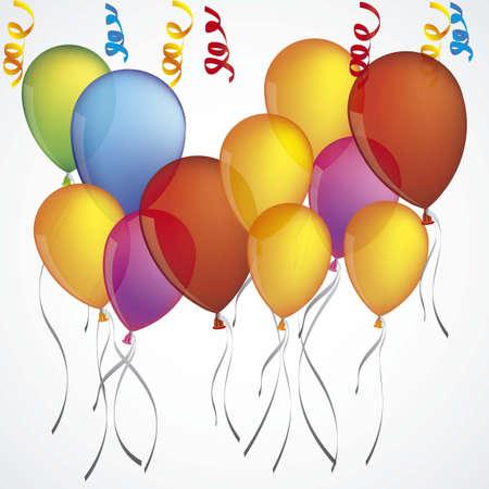 ilustración de globos de colores aislados sobre fondo blanco