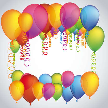 illustration of colorful balloons isolated on white background Vector