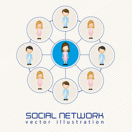 illustration of social networks with characters Stock Vector - 14785482