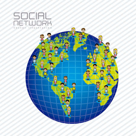 illustration of social networks with characters on planet earth  Stock Vector - 14785839