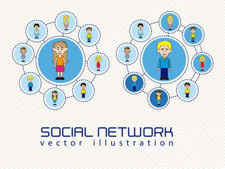 illustration of social networks with characters Stock Vector - 14785393