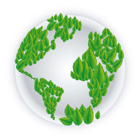 illustration of planet earth with leaves, isolated on white background Vector