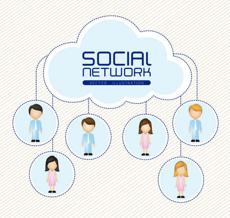 illustration of social networks with characters Stock Vector - 14785357