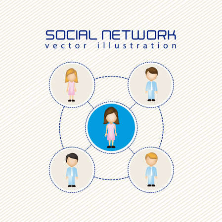 social networks: illustration of social networks with characters, vector illustration