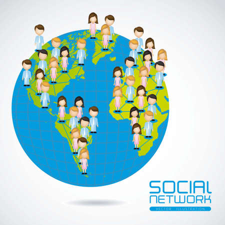illustration of social networks with characters on planet earth  Stock Vector - 14785873