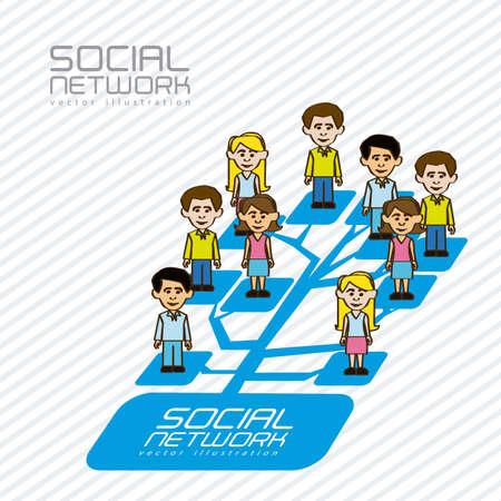 global networking: ilustraci�n de las redes sociales con personajes, ilustraci�n vectorial