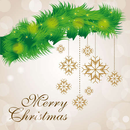 Illustration of mistletoe with Christmas balls Vector