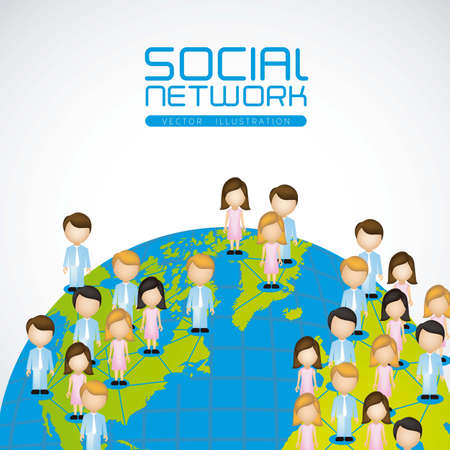 gatherings: illustration of social networks with characters on planet earth Illustration