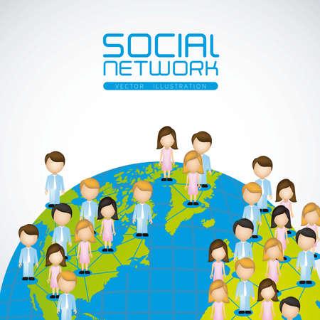 social issues: illustrazione delle reti sociali con caratteri sul pianeta terra Vettoriali