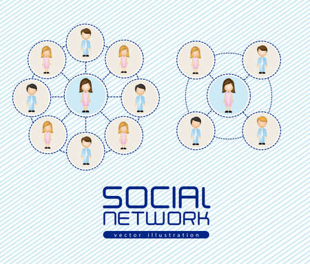 illustration of social networks with characters Stock Vector - 14785776