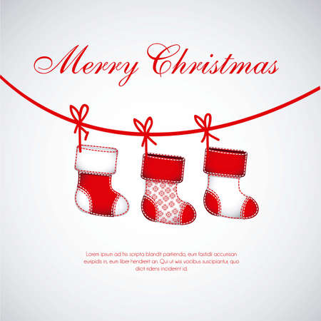 Illustration of  Red Christmas stockings on white background Vector