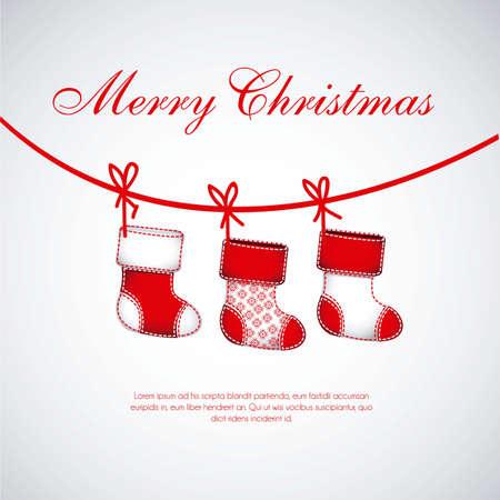campanas de navidad: Ilustraci�n de la Red medias de Navidad en el fondo blanco Vectores