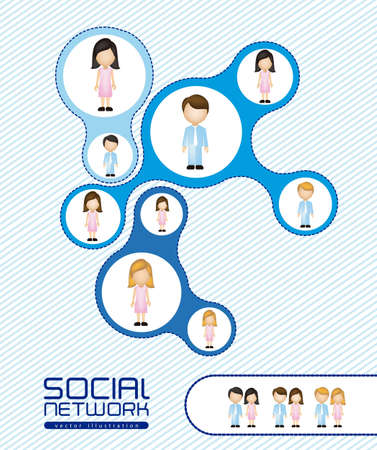 illustration of social networks with characters