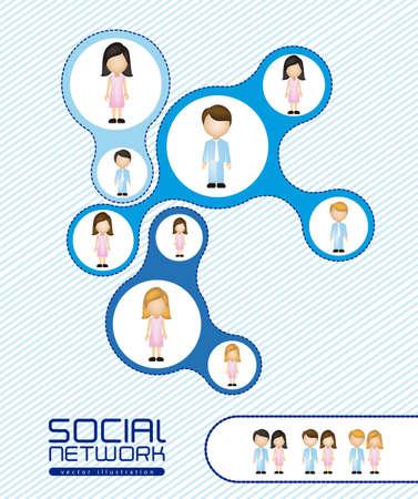 ilustración de las redes sociales con personajes Ilustración de vector