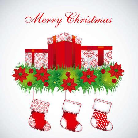 Illustration of mistletoe, Christmas stockings and gifts