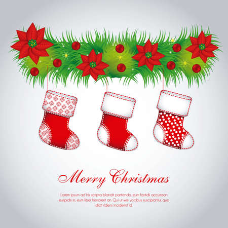 Illustration of mistletoe, with Christmas stockings Vector