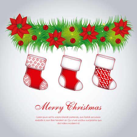 Illustration of mistletoe, with Christmas stockings