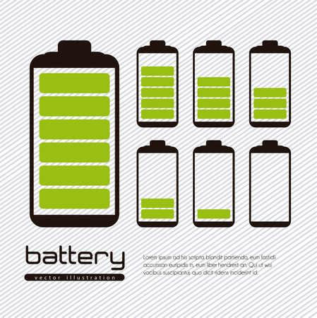 pila: Ilustración carga de batería aislado en el fondo blanco Vectores