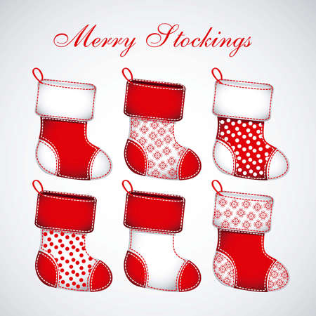 white stockings: Illustration of  Red Christmas stockings on white background