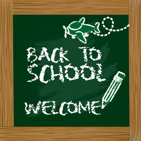 illustration of blackboard with a message back to school Vector