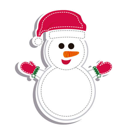 illustration of cartoon snowman white gloves Vector