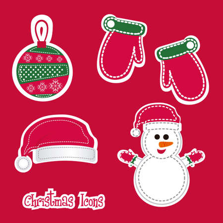 Christmas icons illustration of red and green color Vector