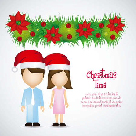 Christmas Family illustration whit mistletoe  on white background Vector