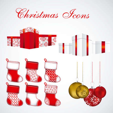 golden color: Christmas icons illustration of red and golden color
