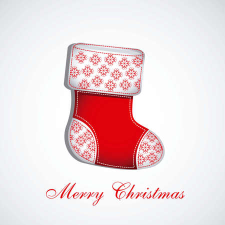 Illustration of  Red Christmas stocking on white background Vector