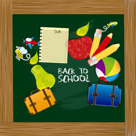 illustration back to school, with school elements on board Stock Vector - 14786053