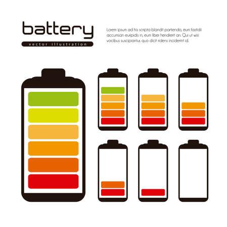 levels: Batterij belasting illustratie geà ¯ soleerd op witte achtergrond Stock Illustratie