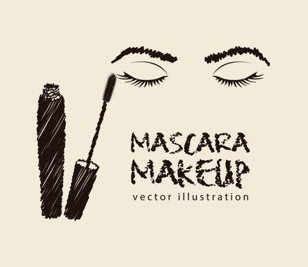 yeux maquill�: illustration mascara isol� sur fond blanc Illustration