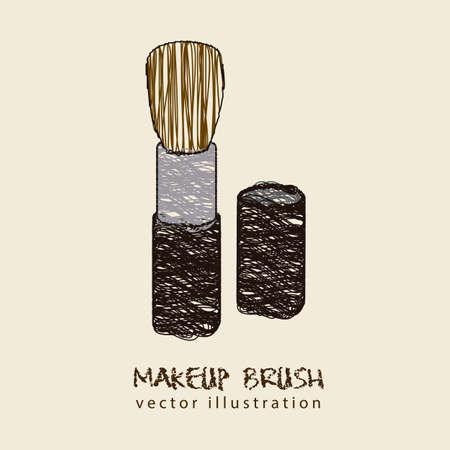 Illustration de pinceau de maquillage, isolé sur fond blanc