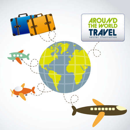 Illustration of planet earth with planes and travel bags Vector