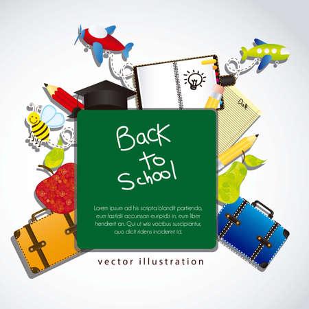 fondo de graduacion: ilustración de vuelta a la escuela, con elementos escolares Vectores