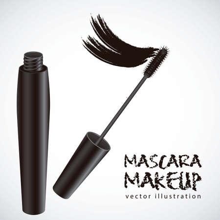 make up brushes: mascara illustration isolated on white background