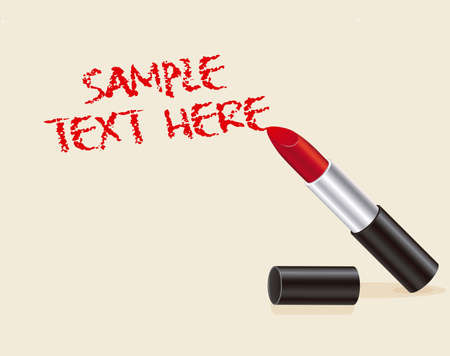 Illustration of text made with red lipstick on beige background Vector